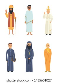 Different religion leaders. Cartoon characters isolate on white. Islam and christianity, catholic and arab, illustration