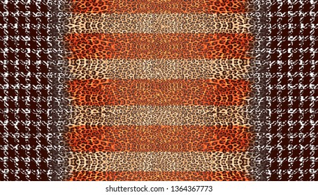 Different Seamless Leopard and Check Monochrome Abstract Dark Orange Brown Beige  Black Colourful  Small Little Card Frame on Rectangle Background Carpet Rug Floor Covering Decoration Designs