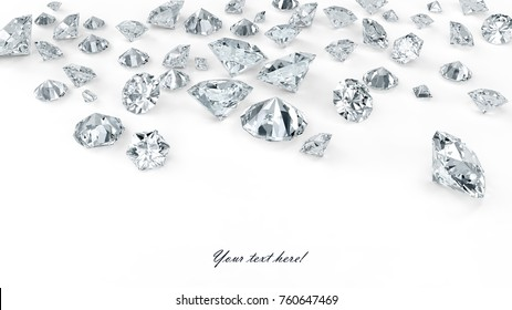 Different shapes and sizes fine diamonds scattered on white background with light shadow, high resolution 3D render