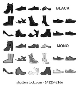 Different shoes black icons in set collection for design. Men and women shoes bitmap symbol stock web illustration.