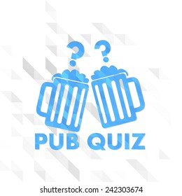 different sign low poly of pub quiz isolated on trendy white triangle background