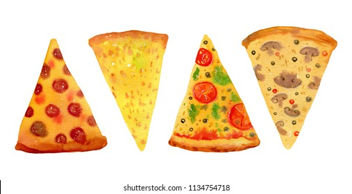 Different sorts of pizza.  Hand drawn stylized watercolor set for posters and cards isolated on white background