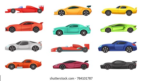 Different sport cars isolated on white. illustrations of racers on road. Set of race car transport, sport and speed automobile