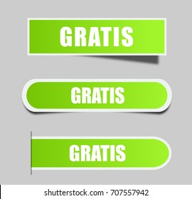 """Different square stickers with word """"Gratis"""". Gratis label."""