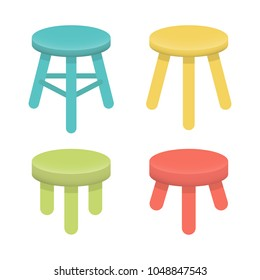 Different stool with three legs set. Colorful three legged stool isolated on white, illustration collection. Stool icons or design elements.