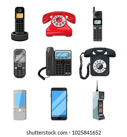 Different telephones and smartphones. illustrations in cartoon style. Phone mobile and smartphone for communication