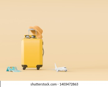 Different travel things for mockups and flatlay style. 3D model render visualization illustration