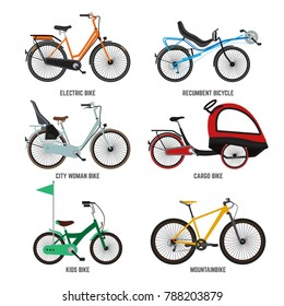 Different type of bicycles for male female and kids. Bikes for family. illustrations kids bike and mountain bike isolate on white