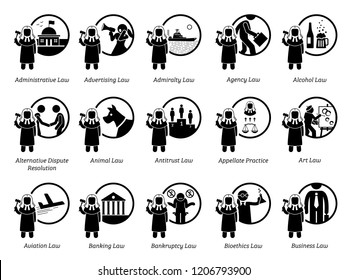 Different type of laws. Icons depict field and area of laws, justice, jurisdictions, regulations, and legal system. Part 1 of 7.