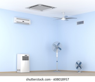 Different types of air conditioners and electric fans in the room, 3D illustration