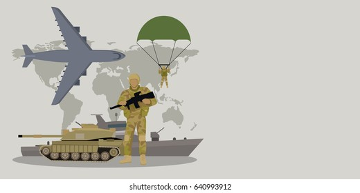 Different types of armed forces. Paratroopers, fighter jet, bomber, tank, reactive artillery flat illustrations world map on background. For warfare concepts, military service contract ad