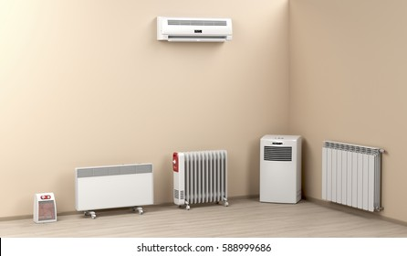 Different types of domestic electric heaters, 3D illustration