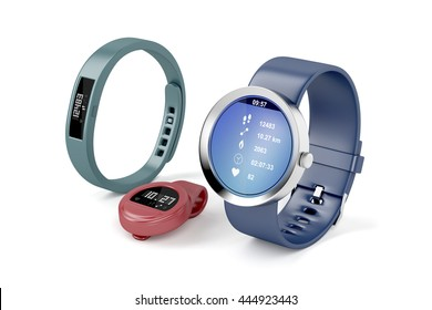 Different types of fitness trackers on white background, 3D illustration