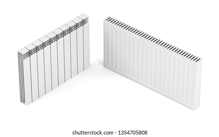 Different types of heating radiators on white background, 3D illustration