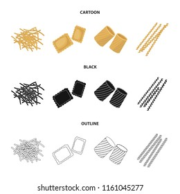 Different types of pasta. Types of pasta set collection icons in cartoon,black,outline style bitmap symbol stock illustration web.