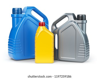 Different types of plastic canisters of motor oil on white isolated background. 3d illustration