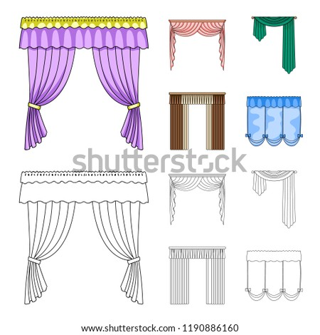 window curtain types modern different types of window curtainscurtains set collection icons in cartoonoutline style bitmap types window curtains set collection stock