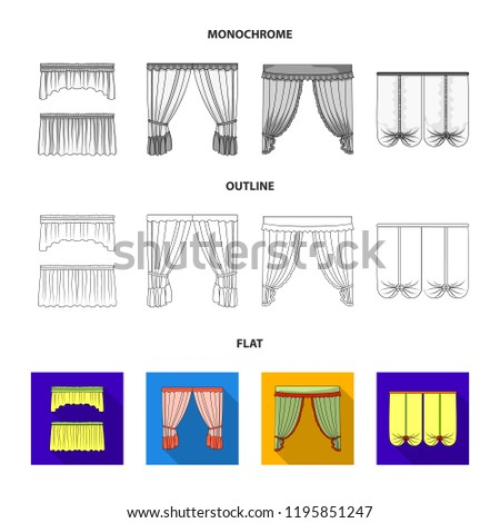 window curtain types half different types of window curtainscurtains set collection icons in flatoutlinemonochrome types window curtains set collection stock