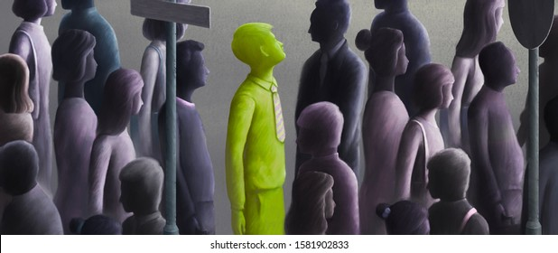 Different, unique, freedom, hope, contrast concept, green business man looking at the sky from the crowd , surreal digital painting