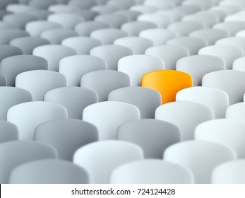Different, unique and standing out of the crowd orange chair. 3D Illustration