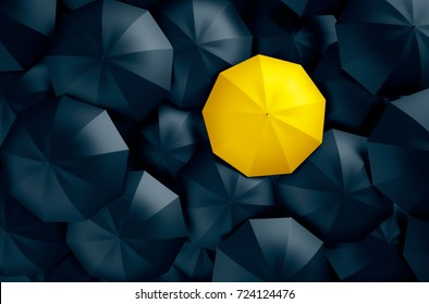 Different, unique and standing out of the crowd yellow umbrella. 3D Illustration