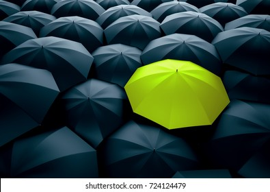 Different, unique and standing out of the crowd green umbrella. 3D Illustration
