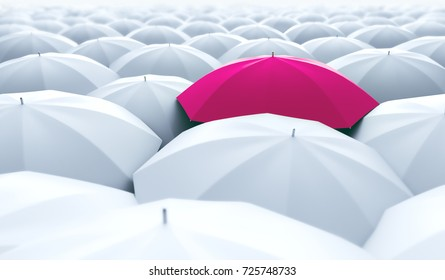 Different, unique and standing out of the crowd pink umbrella. 3D Illustration