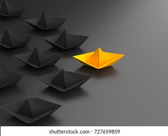 Different, unique and standing out of the crowd origami paper boat. 3D Illustration