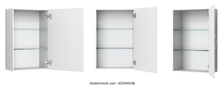Different views of open empty white bathroom cabinet isolated on white. 3d illustration