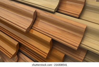 Different wooden plinth. Industrial 3d illustration