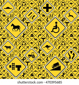 A lot of different yellow road signs seamless pattern