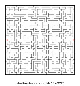 Difficult large square maze. Game for kids and adults. Puzzle for children. Labyrinth conundrum. Flat  illustration  on white background