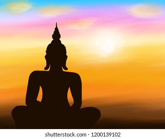 Digatal hand drawn illustration with buddha statue on sunset background, sunset, silhouette style.