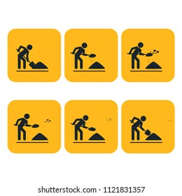 Digging man. Illustration of stick figure throwing the ground ahead. Sprite sheet. Can be used for GIF animation