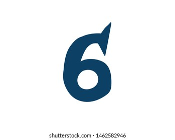 Digit number 6. Logo for the company. Icon for the site. Separate digit from the alphabet. Barbed pleasant shape.
