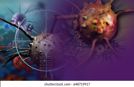 Digital 3d illustration of cancer cells in human body