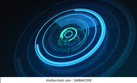 Digital 3D Illustration of Circle HUD visualization on dashboard panel. Futuristic user interface on screen. Virtual hi-tech data rounded graph or chart concept in neon glowing, blue and green colors