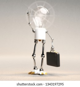 Digital 3D Illustration of a Light Bulb Guy