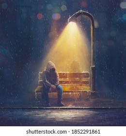 A digital 3d illustration of a man sitting outside in the rain while thinking that he is alone
