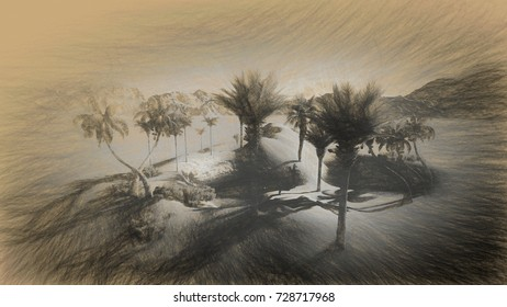 Digital 3d illustration of Oasis in the desert