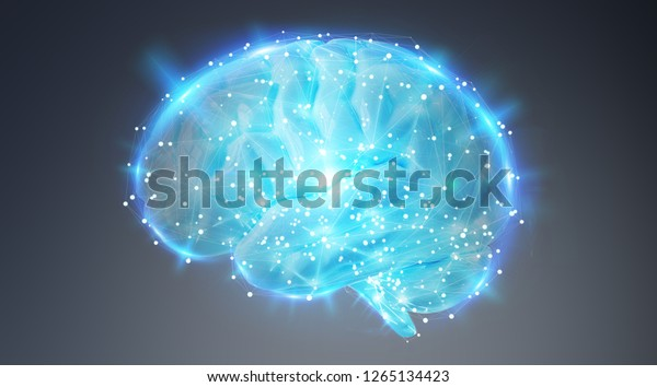 Digital 3d Projection Human Brain On Stock Illustration 1265134423