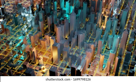 Digital 3d rendering city. Light trails symbolise data travelling in modern city. Flowing data particles and random shapes.
