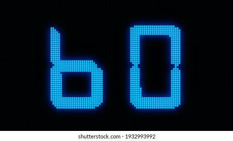 Digital 60 Seconds LED Countdown on Black Background