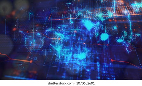 Digital Abstract Background, Cryptocurrency, Internet of Things, Big Data, Network Connections Concept.