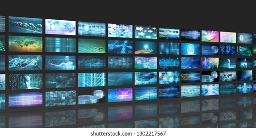 Digital Abstract Background with Multimedia Technology Art