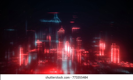 Digital abstract city made of glowing dots. Business skyscrapers. Hologram buildings. Architectural technology structure of luminous lines and particles. Connection concept. 3d rendering