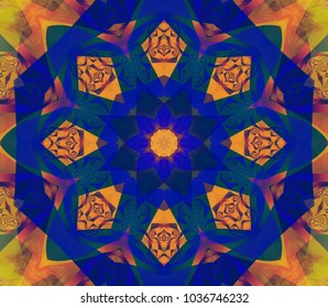 Digital abstract multicolored mandala. Bright flower. Beautiful illustration.