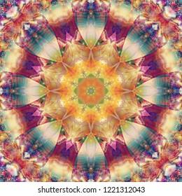 Digital abstract multicolored mandala. Bright flower. Beautiful illustration. Seamless pattern.