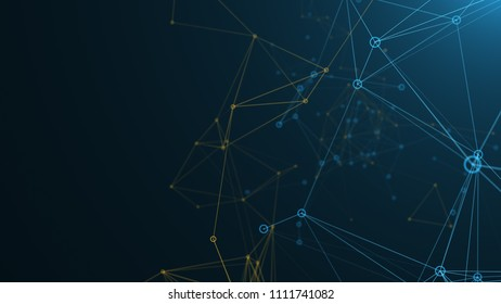 Digital abstract Network of blue and yellow lines and connected dots. 3d render