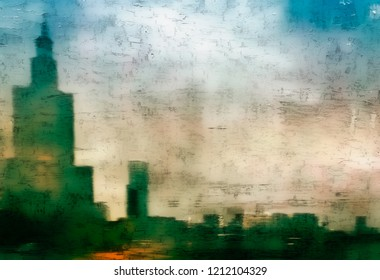 A digital abstract painting of a city with skyscapers